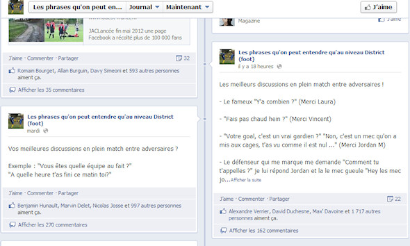 Page Facebook sur le football amateur