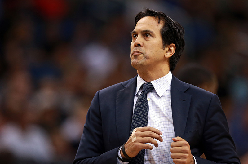 Apr 8, 2016; Orlando, FL, USA; Miami Heat head coach Erik Spoelstra looks on during the first half against the Orlando Magic at Amway Center. Mandatory Credit: Kim Klement-USA TODAY Sports