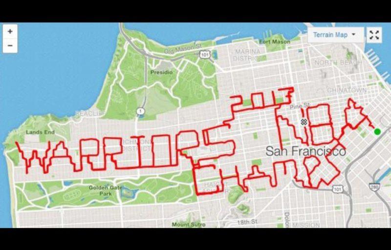 Un joggeur anglais rend un hommage cartographique à la victoire des Warriors